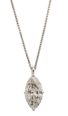 Lot 118 - A marquise cut diamond pendant