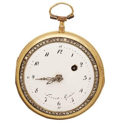 Lot 166 - TERROT GENEVE - An 18th century gold, enamel and gem set pocket watch