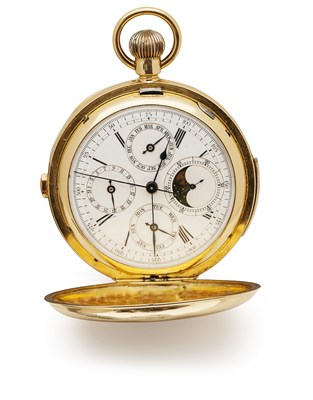 Lot 167 - A gentleman's 18ct gold cased minute repeater pocket watch with further complications