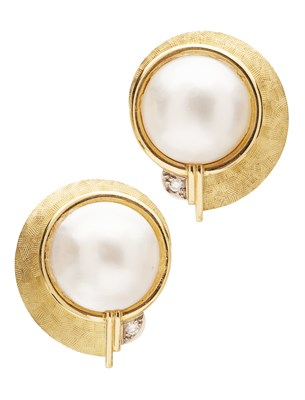 Lot 142 - STEPHEN WEBSTER - A pair of 18ct gold pearl and diamond set earrings