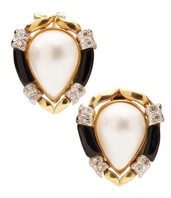 Lot 29 - A pair of multi-gem set cluster earrings