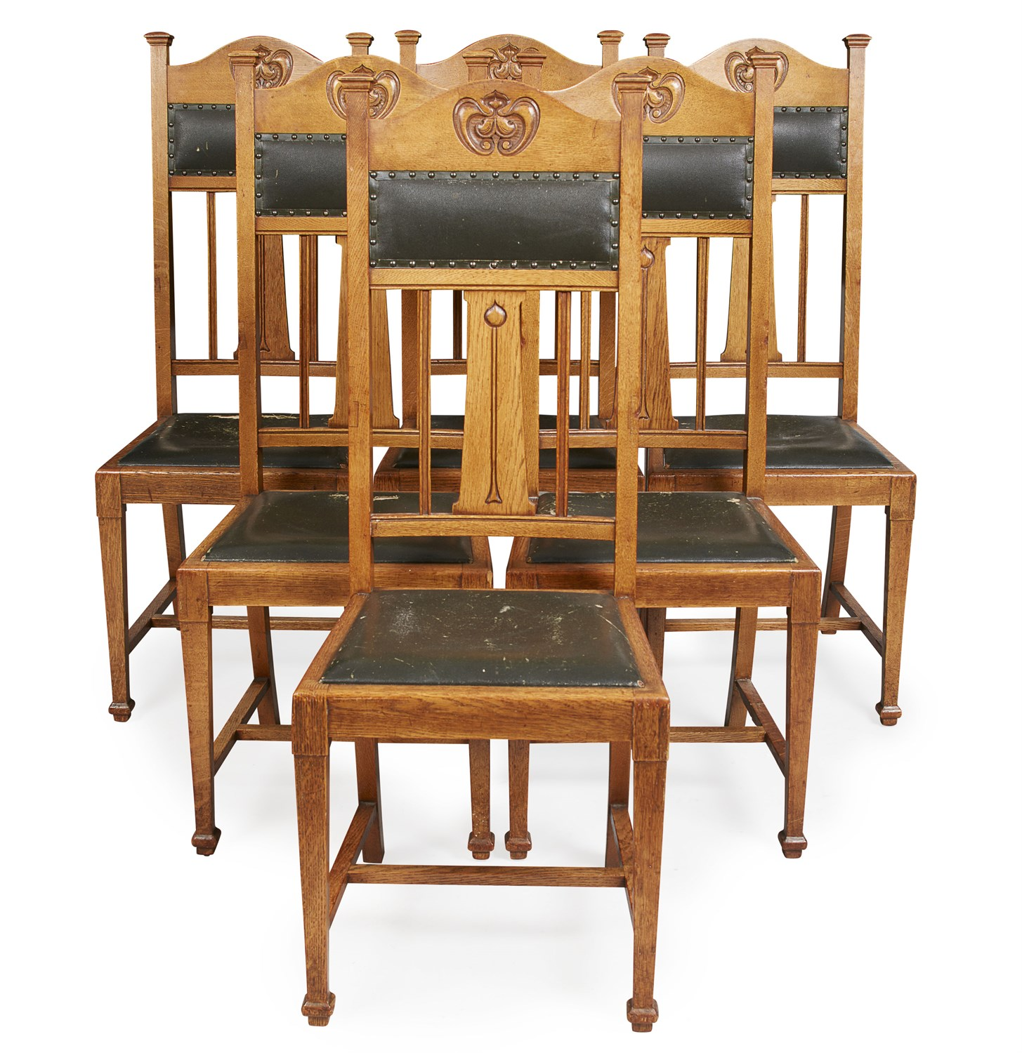 Fabulous Lot 263 Set Of Six Art Nouveau Oak Dining Chairs Caraccident5 Cool Chair Designs And Ideas Caraccident5Info