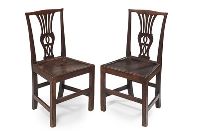 Lot 3 - PAIR OF GEORGE III ELM HALL CHAIRS LATE 18TH...
