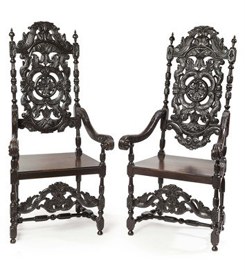 Lot 6 - PAIR OF LARGE VICTORIAN STAINED OAK HALL...