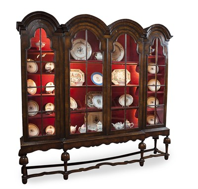 Lot 36 - WALNUT DISPLAY CABINET EARLY 20TH CENTURY of...