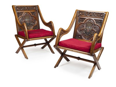Lot 10 - PAIR OF LARGE VICTORIAN OAK AND PAINTED...