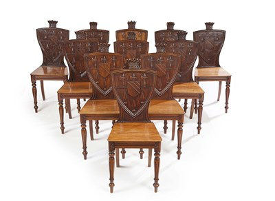 Lot 24 - SET OF TEN EARLY VICTORIAN WALNUT HALL CHAIRS...