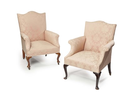 Lot 45 - UPHOLSTERED AND WALNUT FRAMED ARMCHAIR LATE...