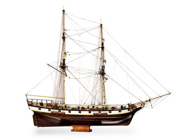 Lot 57 - WOODEN AND PAINTED SHIP MODEL 19TH CENTURY a...