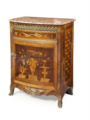 Lot 58 - FRENCH LOUIS XV MARBLE TOPPED KINGWOOD AND...