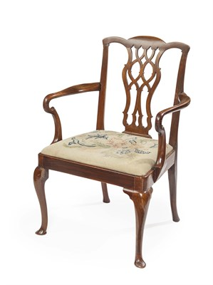 Lot 98 - VICTORIAN MAHOGANY OPEN ARMCHAIR LATE 19TH...