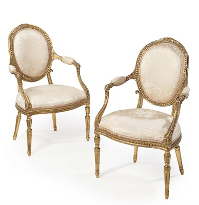 Lot 63 - PAIR OF FRENCH GILTWOOD FRAMED SALON ARMCHAIRS...