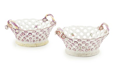 Lot 64 - PAIR OF ENGLISH PORCELAIN RETICULATED BASKETS...