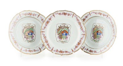 Lot 85 - SET OF THREE CHINESE EXPORT ARMORIAL PORCELAIN...