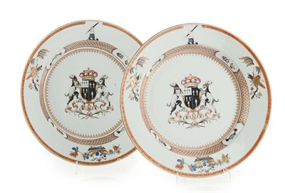 Lot 84 - PAIR OF CHINESE EXPORT ARMORIAL PORCELAIN...