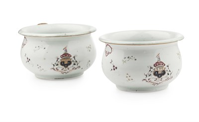 Lot 87 - PAIR OF CHINESE EXPORT ARMORIAL PORCELAIN...
