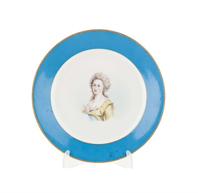 Lot 61 - SEVRES STYLE PORCELAIN PLATE MID 19TH CENTURY...