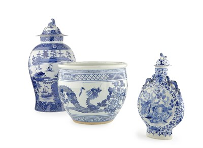 Lot 52 - CHINESE BLUE AND WHITE PORCELAIN MOON FLASK...
