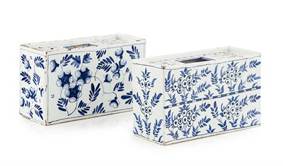Lot 65 - TWO ENGLISH DELFTWARE FLOWER BRICKS PROBABLY...