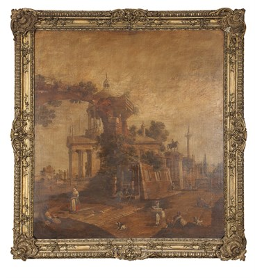 Lot 8 - AFTER CANALETTO CAPRICCIO SCENE: RUINS WITH A...