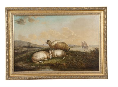 Lot 92 - ATTRIBUTED TO JOHN MORRIS SHEEP GRAZING ON A...