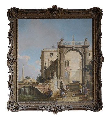 Lot 7 - AFTER CANALETTO CAPRICCIO SCENE: WITH A PALACE,...
