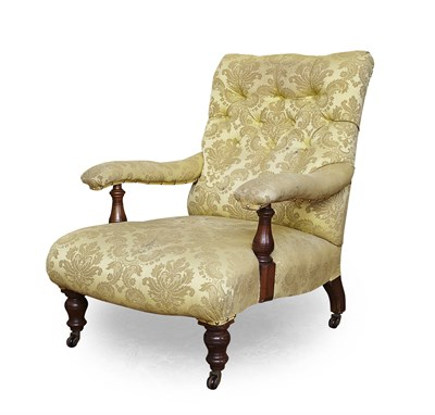 Lot 71 - VICTORIAN BUTTON UPHOLSTERED EASY ARMCHAIR...