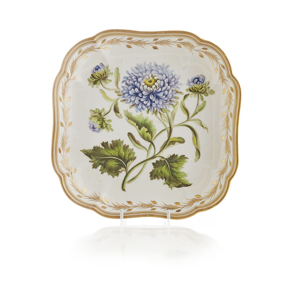 Lot 179 - DERBY PORCELAIN BOTANICAL DISH, DECORATION ATTRIBUTED TO WILLIAM PEGG