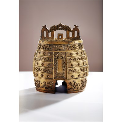 Lot 112-RARE AND IMPORTANT IMPERIAL GILT-BRONZE RITUAL BELL, BIANZHONG