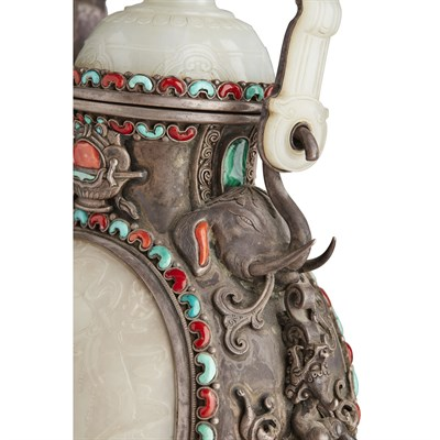 Lot 42-FINE JADE, CORAL AND TURQUOISE-EMBELLISHED SILVER HANGING VASE