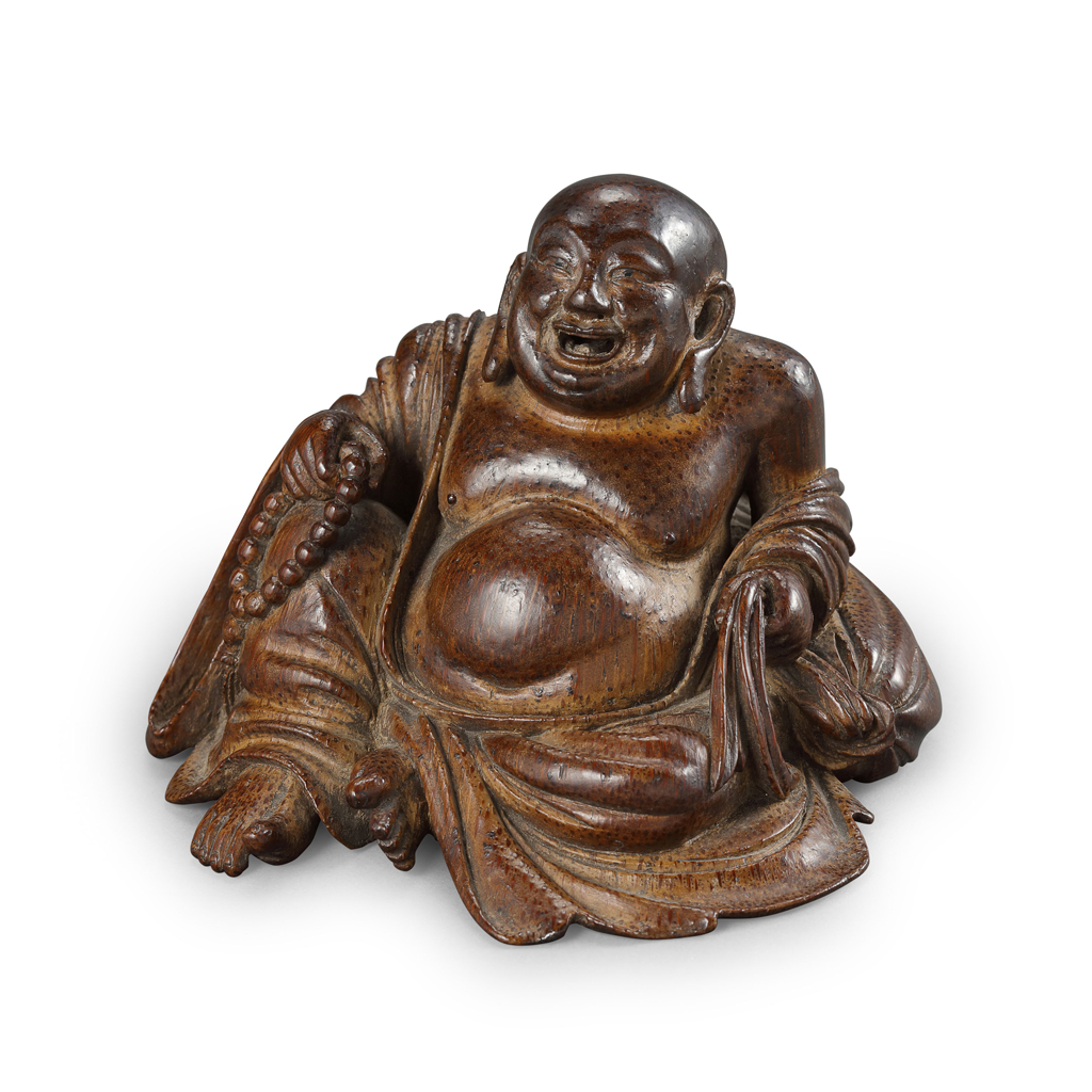 Lot 24-FINE AND RARE CARVED BAMBOO FIGURE OF LAUGHING BUDAI