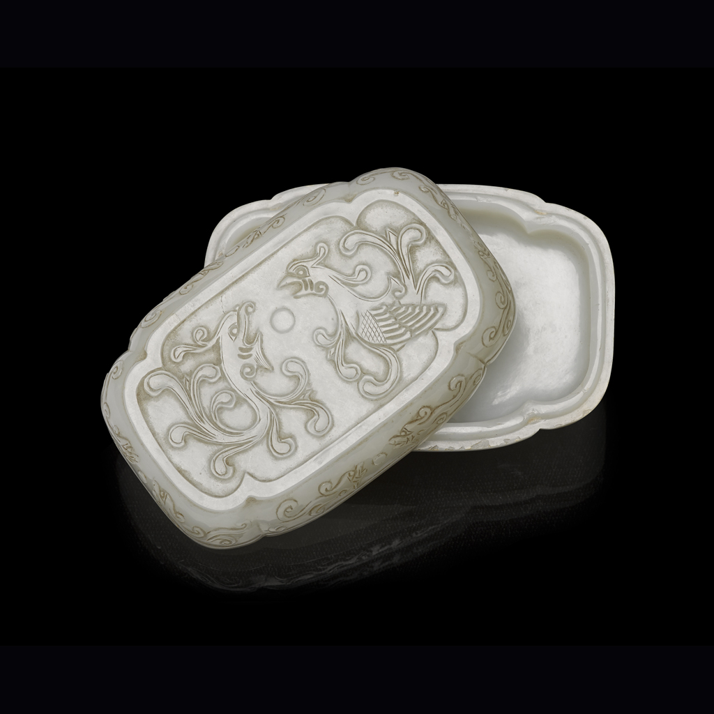 Lot 48-CARVED WHITE JADE 'FENGHUANG' COVERED BOX