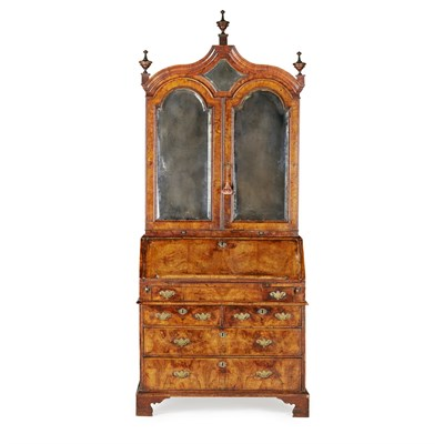 Lot 14-GEORGE I WALNUT BUREAU BOOKCASE