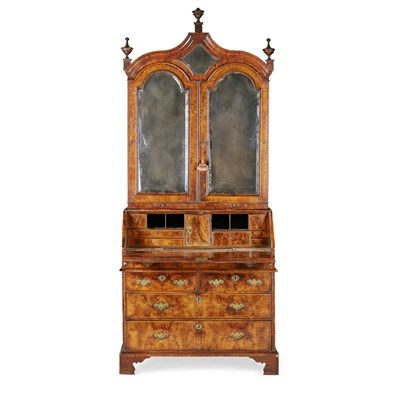 Lot 14 - GEORGE I WALNUT BUREAU BOOKCASE