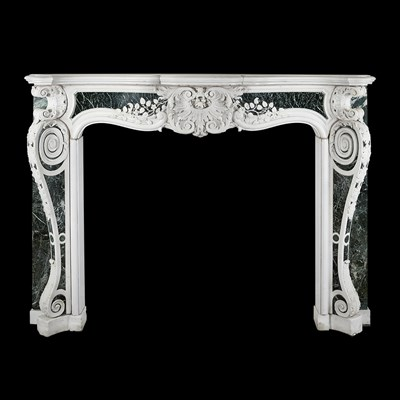 Lot 235 - VERY FINE LATE GEORGE II CHIMNEYPIECE OF STATUARY MARBLE INSET WITH PANELS OF VERDE ANTICO