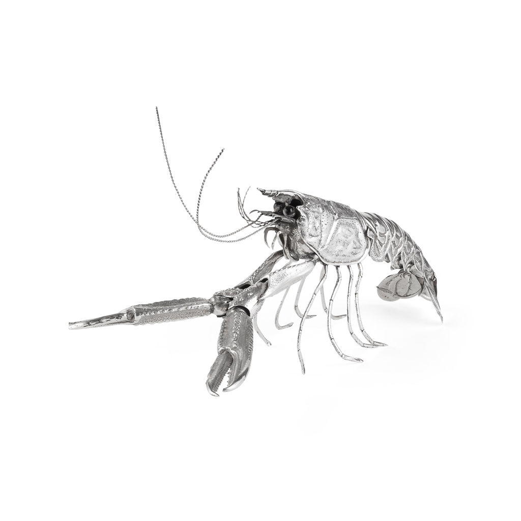 Lot 505 - SPANISH SILVER ARTICULATED MODEL OF A CRAYFISH