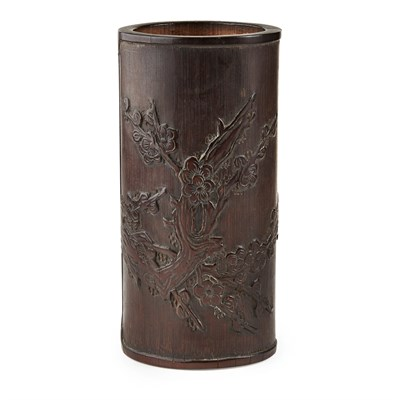 Lot 24-CARVED AND INSCRIBED BRUSHPOT