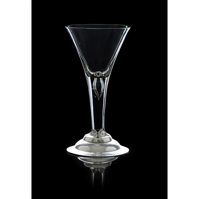 410 - AN IMPORTANT SILVER MOUNTED JACOBITE WINE GLASS