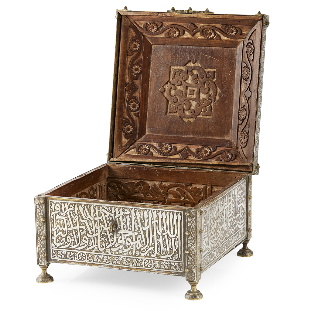 578 - MAMLUK REVIVAL SILVER INLAID BRASS QUR'AN BOX (SUNDUQ)