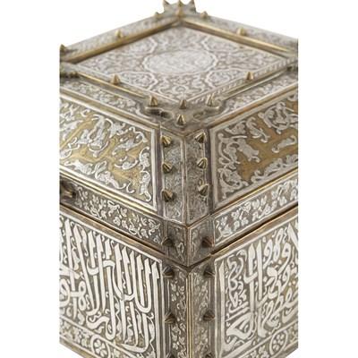 Lot 578 - MAMLUK REVIVAL SILVER INLAID BRASS QUR'AN BOX (SUNDUQ)
