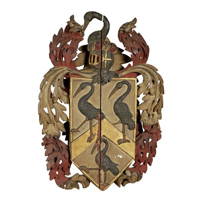 Lot 56 - CARVED AND POLYCHROMED COAT OF ARMS