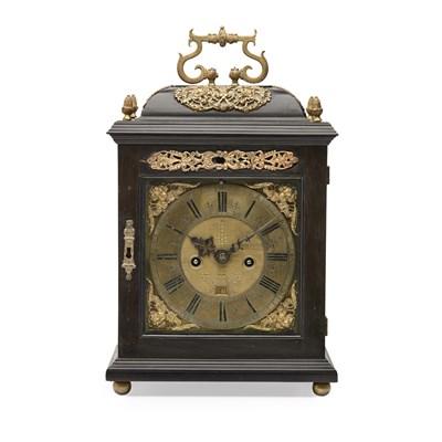 Lot 71 - EBONY-VENEERED REPEATING BRACKET CLOCK, THOMAS WARDEN, LONDON