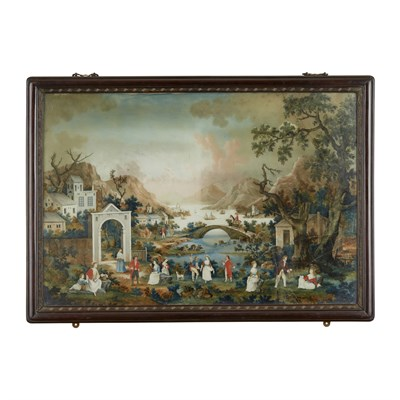 Lot 3 - LARGE CHINESE EUROPEAN SUBJECT REVERSE PAINTING ON GLASS
