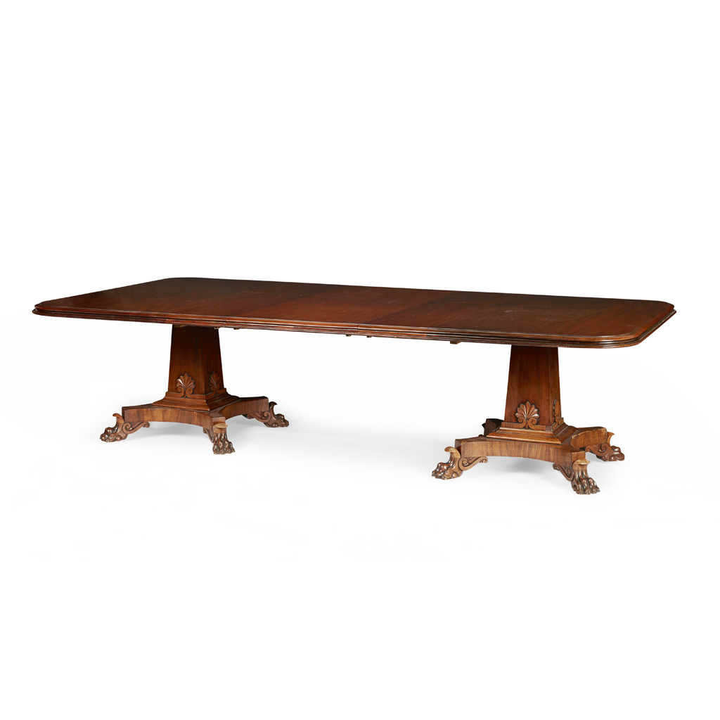 Lot 22-GEORGE IV MAHOGANY TWIN PEDESTAL DINING TABLE