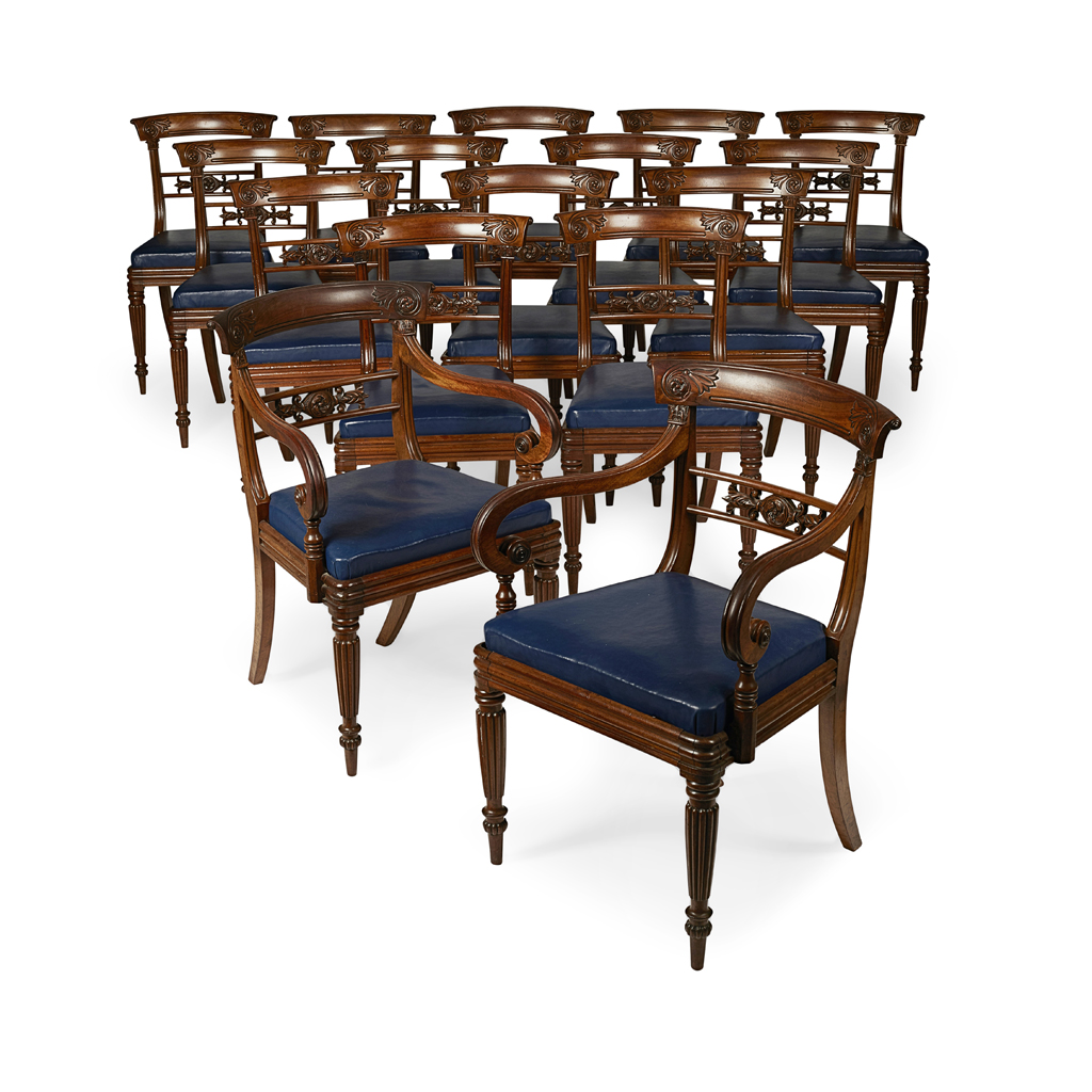 Lot 21-SET OF SIXTEEN WILLIAM IV MAHOGANY DINING CHAIRS