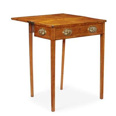 Lot 14-GEORGE III SATINWOOD FOLD-OVER TEA TABLE