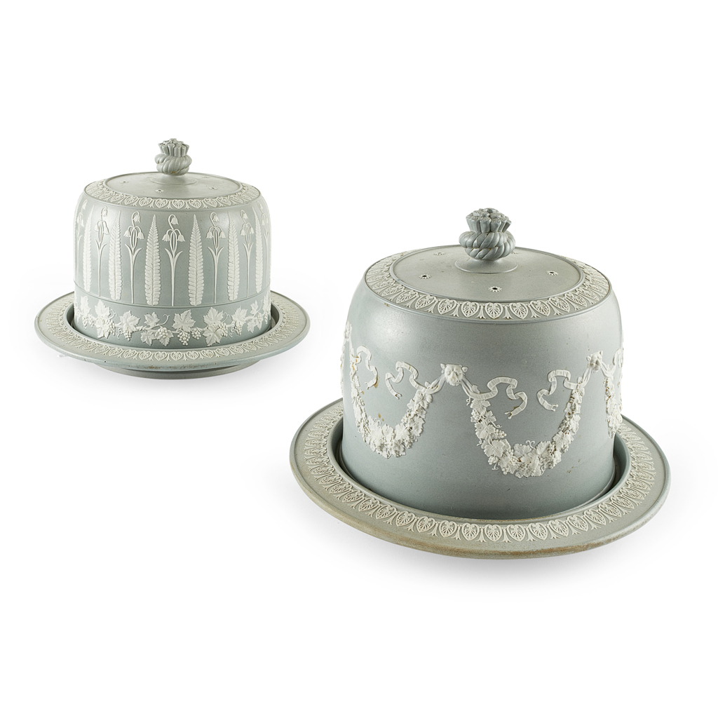 Lot 18-TWO SAGE GREEN JASPERWARE CHEESE DOMES