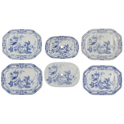 Lot 17 - PART SET OF ENGLISH IRONSTONE PLATTERS AND MEAT DRAINERS