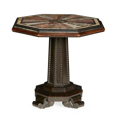 Lot 6-GEORGE IV SPECIMEN MARBLE AND MAHOGANY CENTRE TABLE
