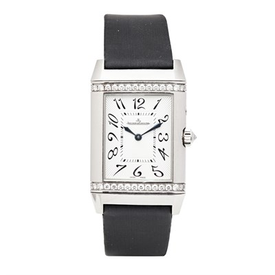 Lot 228 - JAEGER LE COULTRE - An 18ct white gold and diamond set Reverso wrist watch